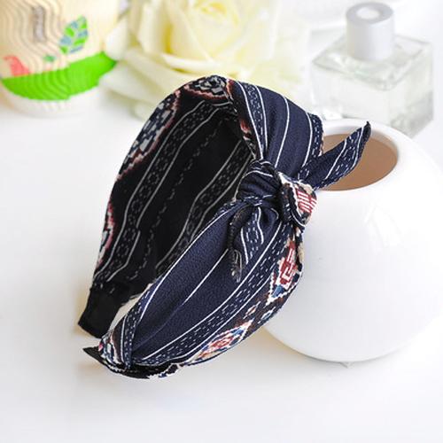 Sweet printing fabric broad brimmed bow headband J4U472