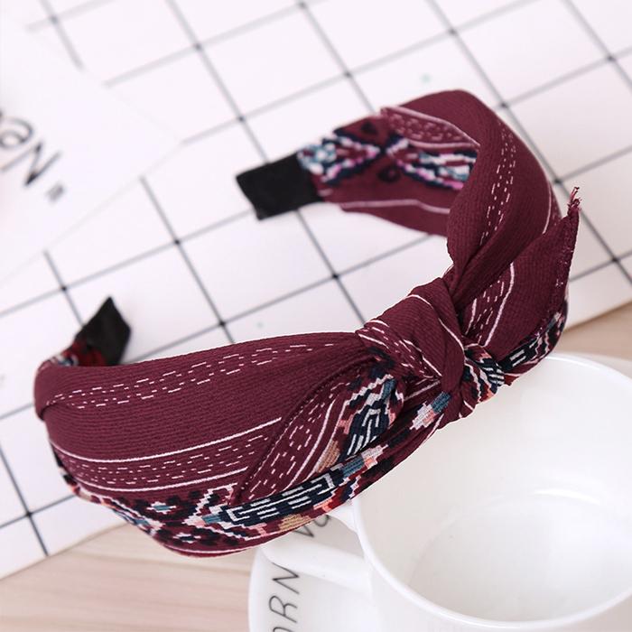 Sweet printing fabric broad brimmed bow headband J4U473