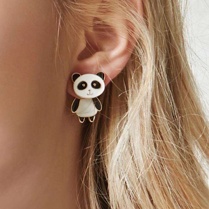 Anting Minimalist cute panda earrings J4U747