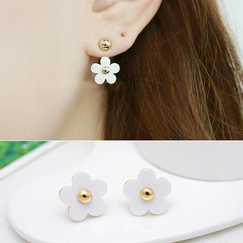 small golden ball five flower hanging earrings J4U884
