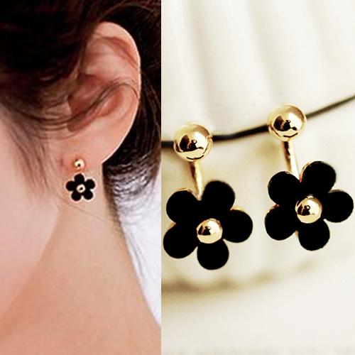 small golden ball five flower hanging earrings J4U885