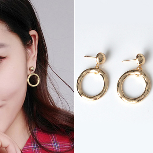 Irregular circle geometric earrings J4U890