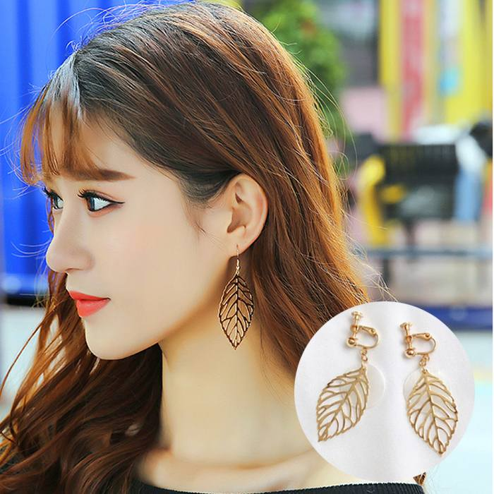 Anting Metal Leaf Shell Ear Clips Without Ear Piers JA0075