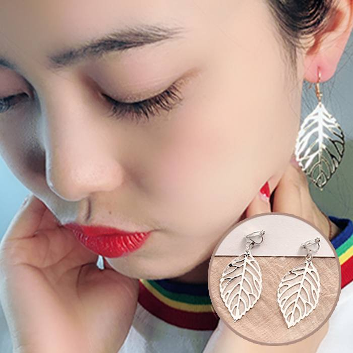 Anting Metal Leaf Shell Ear Clips Without Ear Piers JA0076