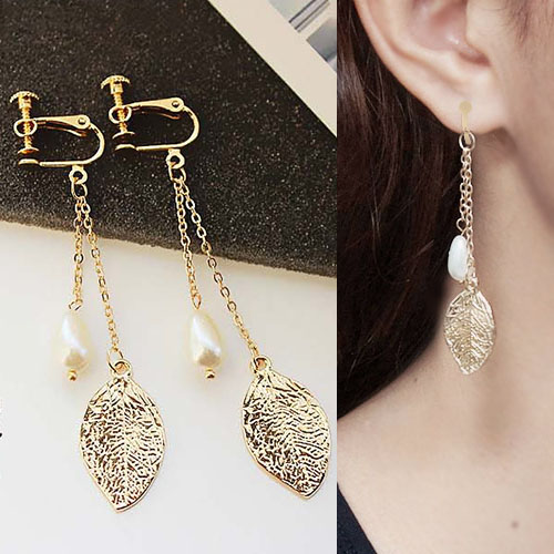 Anting Leaves pearls long section ear clip no needle JN1020