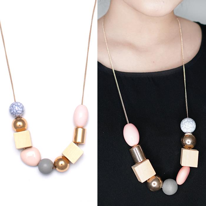 Geometric elements wood combination pendant necklace JN1087