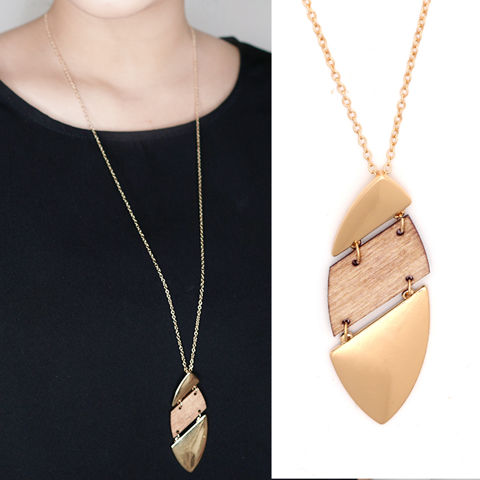 Kalung Fashion Retro wood chip necklace JN1089