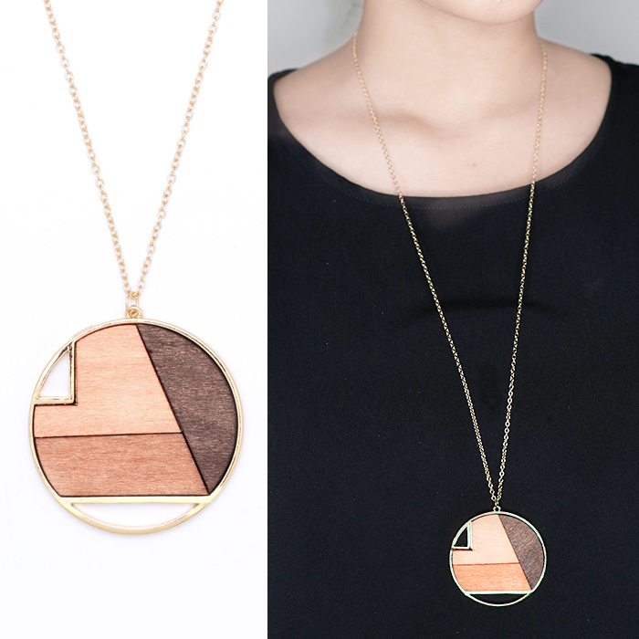 Geometric round wood long section necklace JN1090