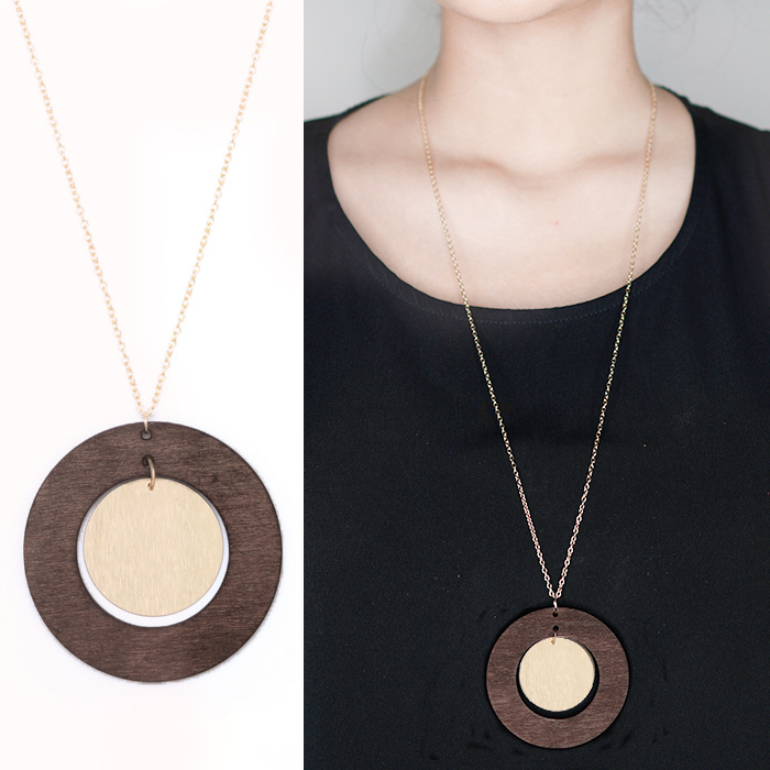 Kalung Fashion Geometry circular wood combination pendant necklace JN1095
