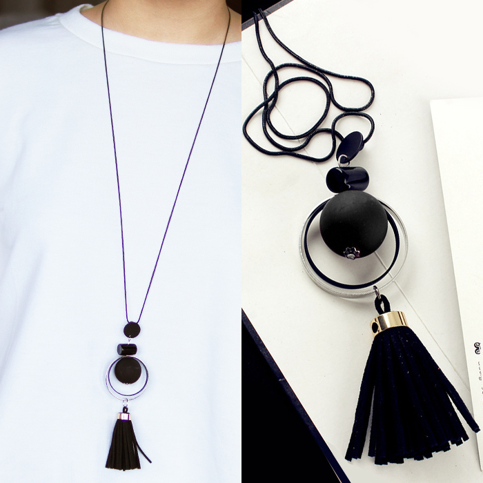 Kalung Fashion Fringed Tassel Circle Long Necklace JN1099