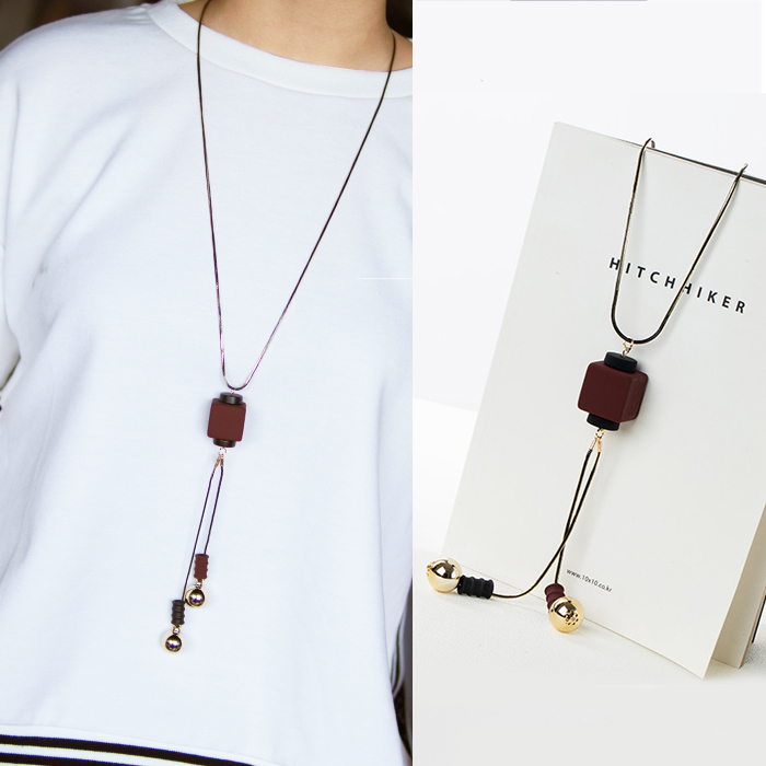 Kalung Fashion Square pendant chain long necklaces JN1102