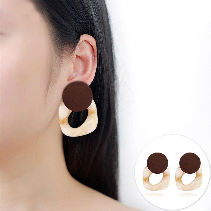 Korea Dongdaemun geometric wooden earrings  JUL578