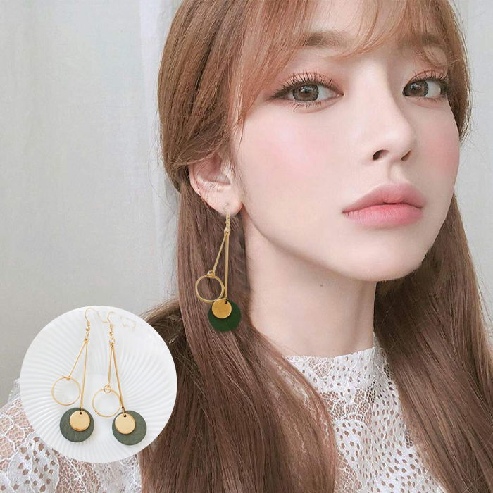 Retro geometric long earrings Korean tsimple wild earrings Wood round female earrings JUL588