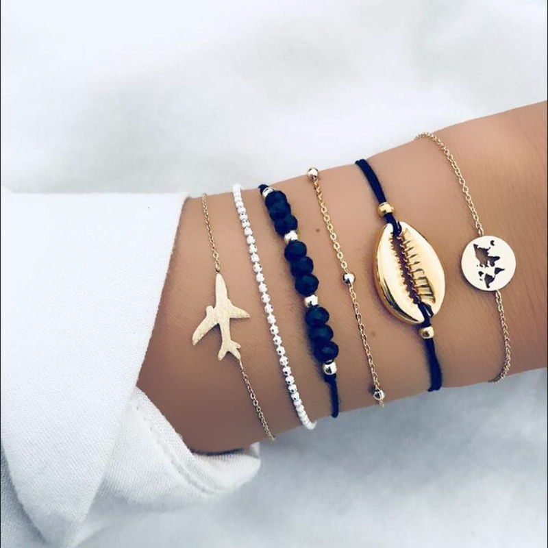 Gelang Korea shell map map bead chain personality trend bracelet jewelry six-piece hand strap JUL668