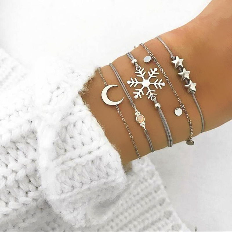 Gelang Korea spring new silver five-piece bracelet star snowflake crescent woven rope bracelet JUL681