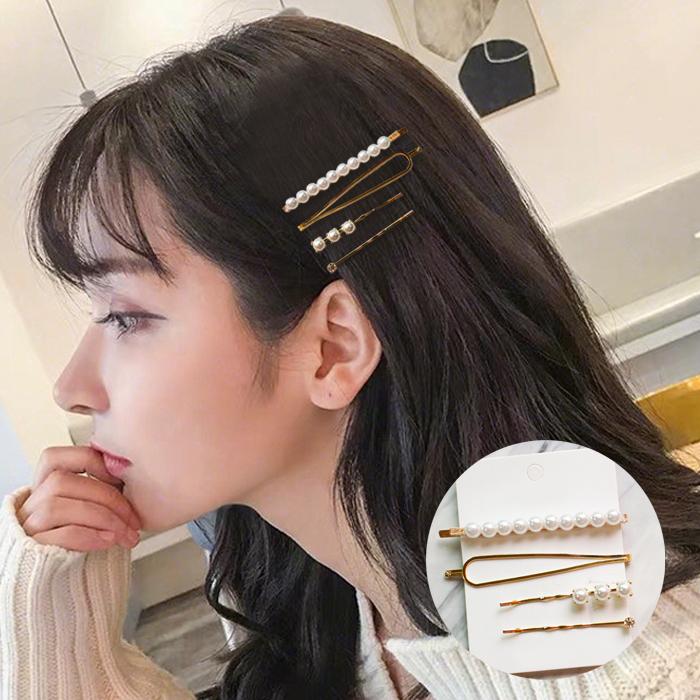 Jepitan & Sirkam Side clip Korean metal pearl hairpin combination  M4Y069