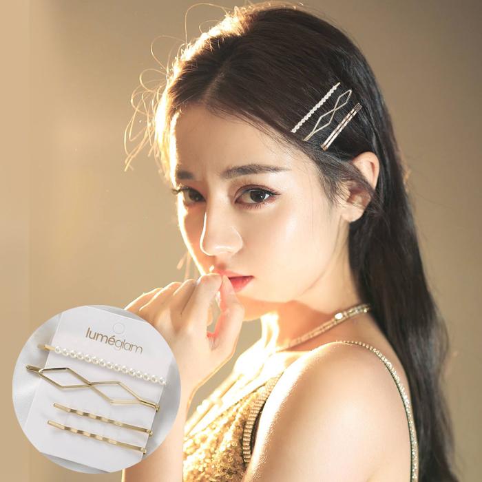 Jepitan & Sirkam Korean metal pearl hairpin combination M4Y081