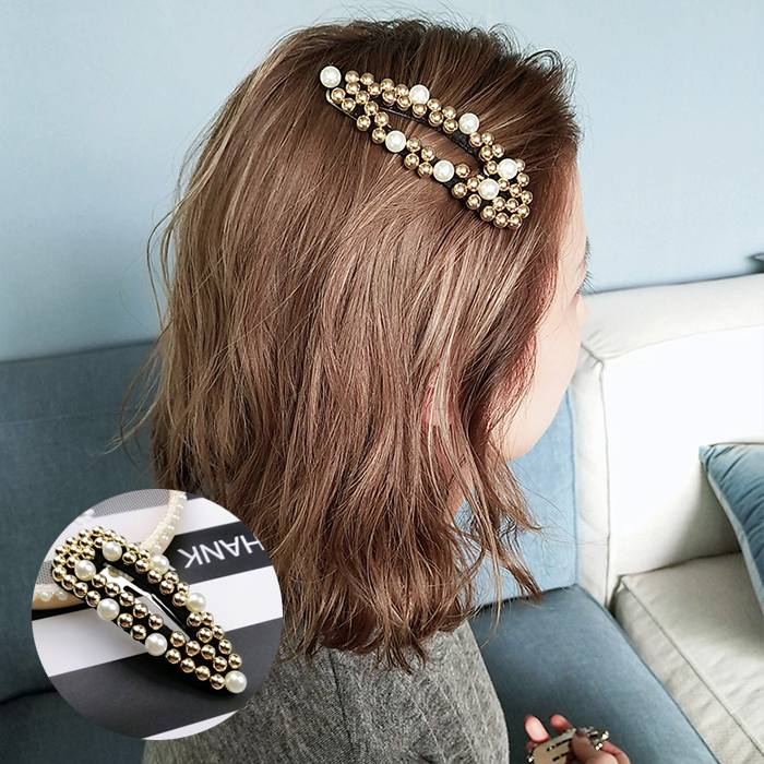Jepitan & Sirkam 2019ins new Korean simple geometry matte big pearl hairpin M4Y142