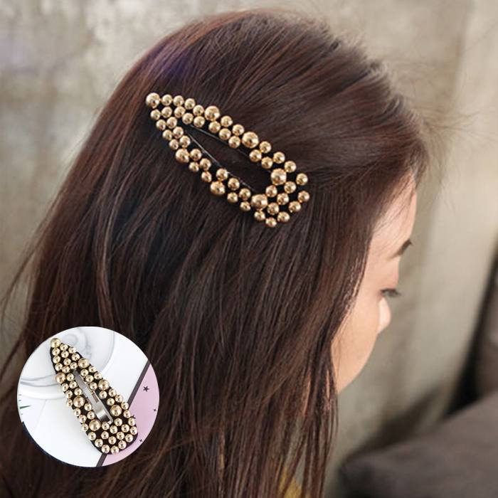 Jepitan & Sirkam 2019ins new Korean simple geometry matte big pearl hairpin M4Y144