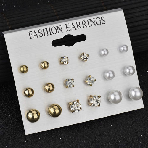 Anting Minimalist diamond pearl earrings 9 pairs NOV069
