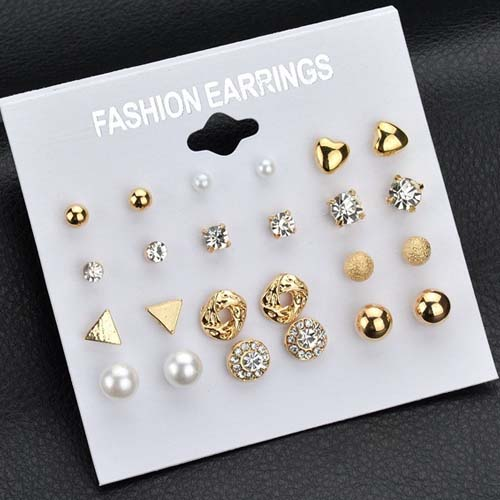 Anting Multi layer triangle pearl zirconium  earrings 12 pairs NOV082