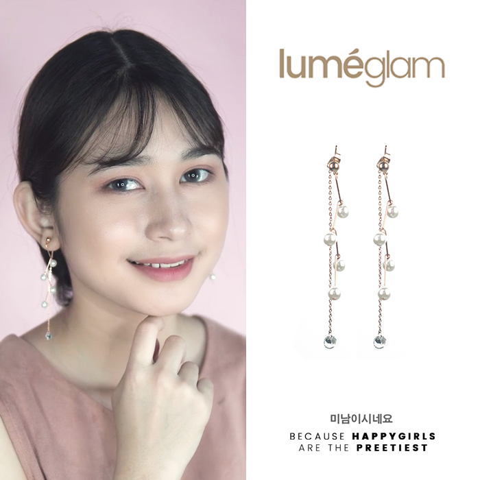 Anting Curved pearl diamond chain earrings OKT022