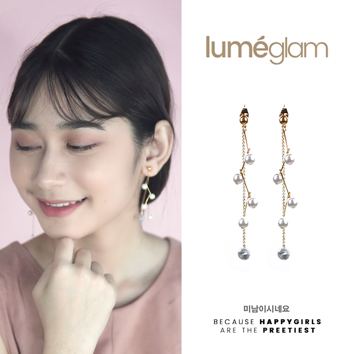 Anting Curved pearl diamond chain earrings OKT023
