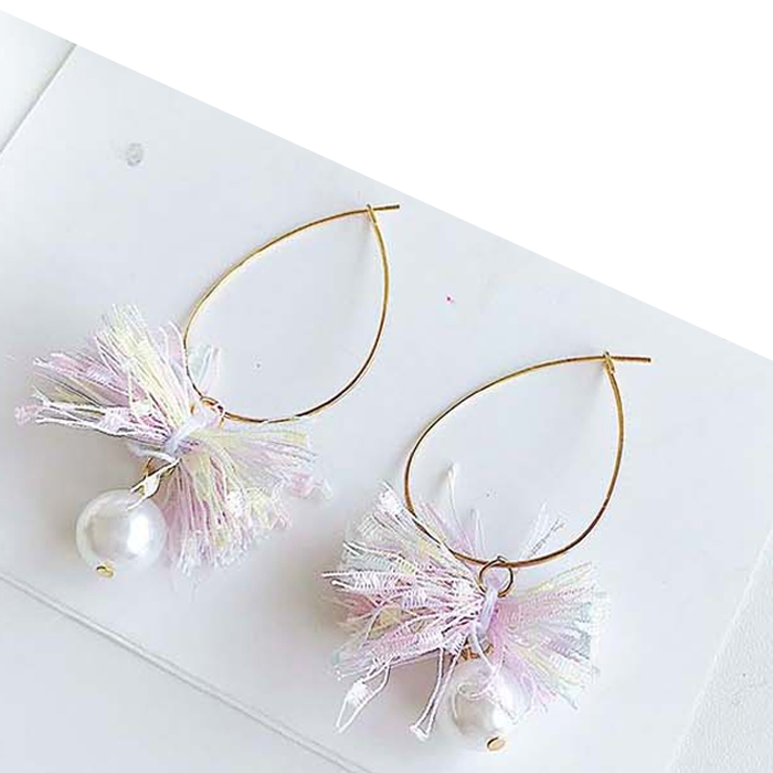 Anting Lace cotton bow pearl exquisite earrings OKT030