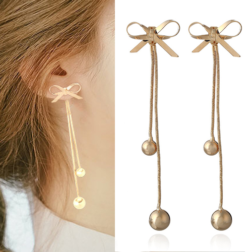 Anting Simple bowknot long section earrings OKT045