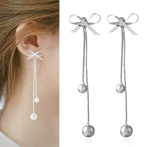 Anting Simple bowknot long section earrings OKT046
