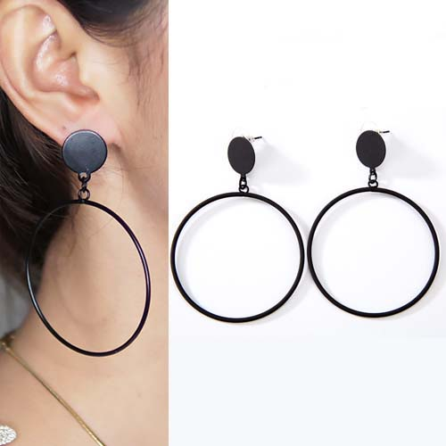 Anting minimalist geometric circle earrings OKT086