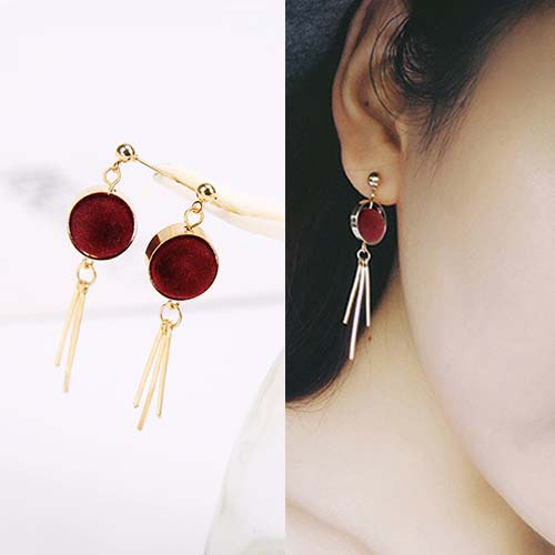 Anting Round PomPom earrings OKT087