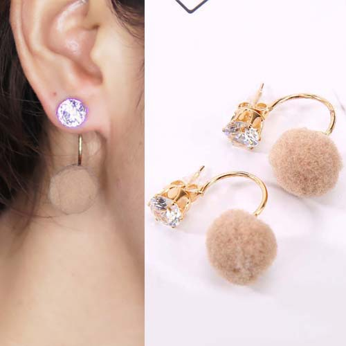 Anting U style gem PomPom earrings OKT092