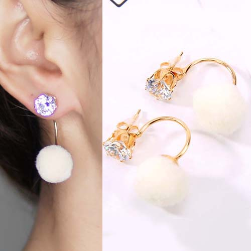 Anting U style gem PomPom earrings OKT093