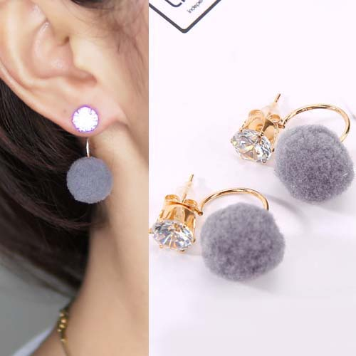 Anting U style gem PomPom earrings OKT095