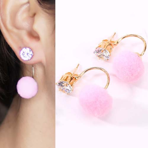 Anting U style gem PomPom earrings OKT096