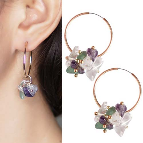 Anting Amethyst original stone series earrings OKT121