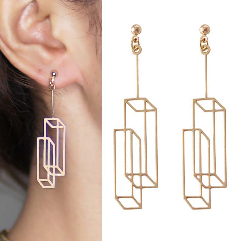 Anting Simple geometric square earrings OKT123