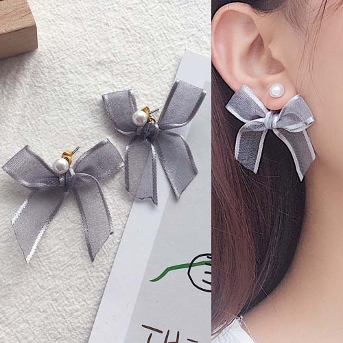 Anting Ribbon bow stud pearl earrings OKT133