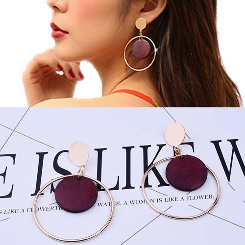 Anting Round Vintage Wood earrings OKT207