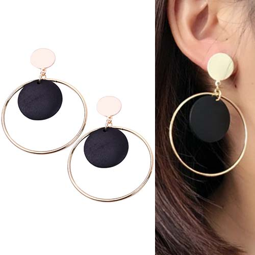Anting Round Vintage Wood earrings OKT208