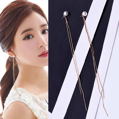 Anting Long section beads after hanging pearl simple earrings OKT210