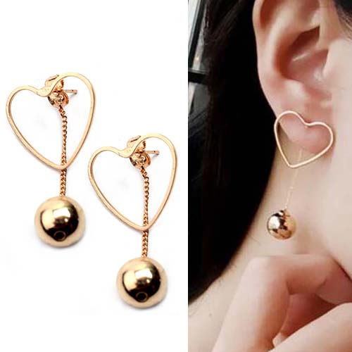 Anting Hollow love metal temperament ball pendant earrings OKT211