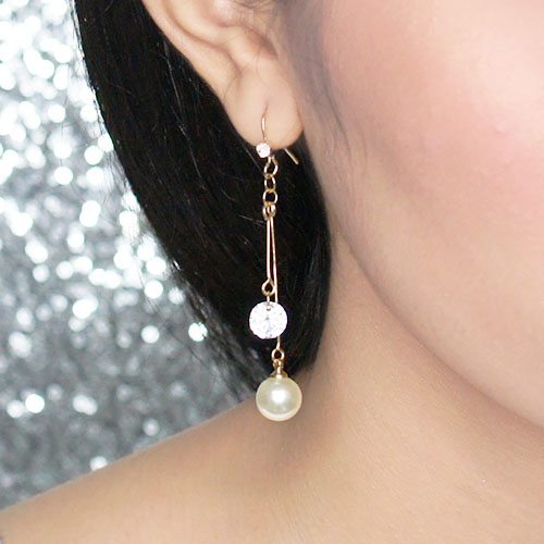 Anting Zircon pearl simple earrings OKT267