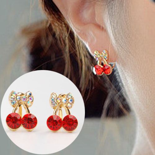 Cute sweet red cherry ear clip no needle OKT301