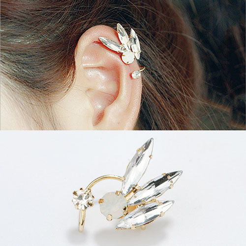 Crystal drill ear clip double U-shaped no needle harga 1pcs OKT311
