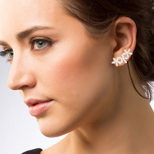 Three flower diamond ear clip no needle harga 1pcs OKT312