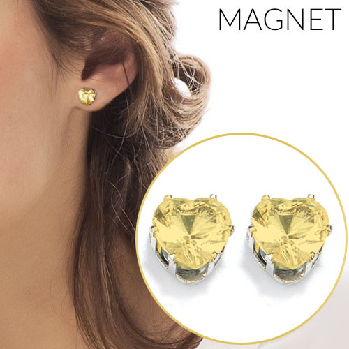 Heart shape zirconia magnet earrings OKT313
