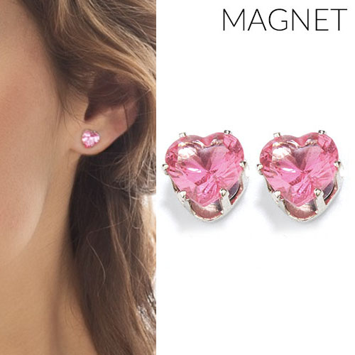 Heart shape zirconia magnet earrings OKT315