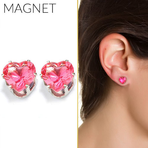 Heart shape zirconia magnet earrings OKT316